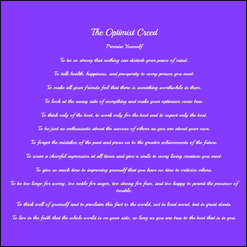 Christian D. Larson, Poem, inspirational poem, The Optimist Creed, truth, motivation, TS76