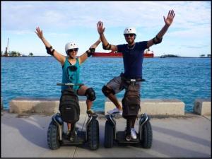 Justin and Lauren, bloggers, Segways, Nassau, Bahamas, travel, photography