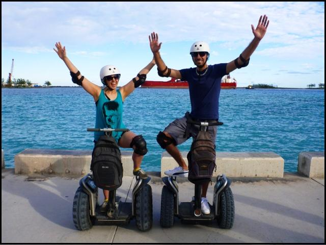 Justin and Lauren, bloggers, Segways, Nassau, Bahamas, travel, photography