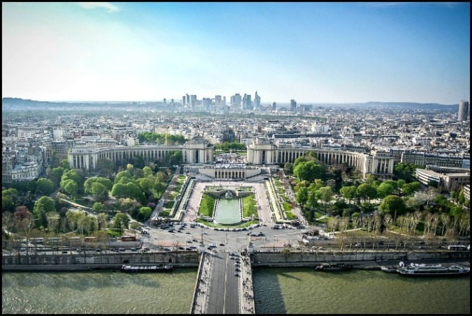 View of Paris, France from the Eiffel Tower.