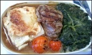 potato gratin, beef, spinach, in flight food, gourmet food, Finnair, business class, J class, travel, photography, TS76