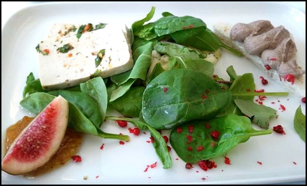 Spinach, fig, tofu, salad, in flight food, gourmet food, Finnair, business class, J class, travel, photography, TS76