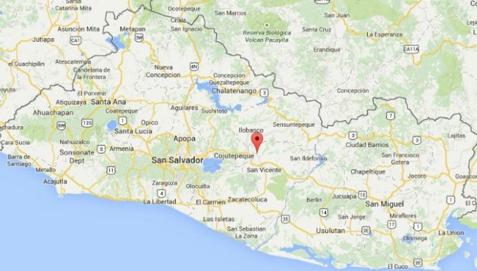 San Sebastian, El Salvador, Central America, map, mapa