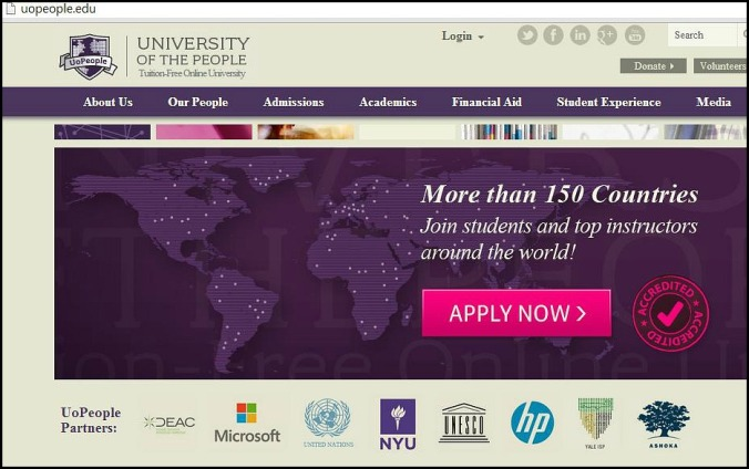 U of People, University of the People,  free online, education, education site, learning