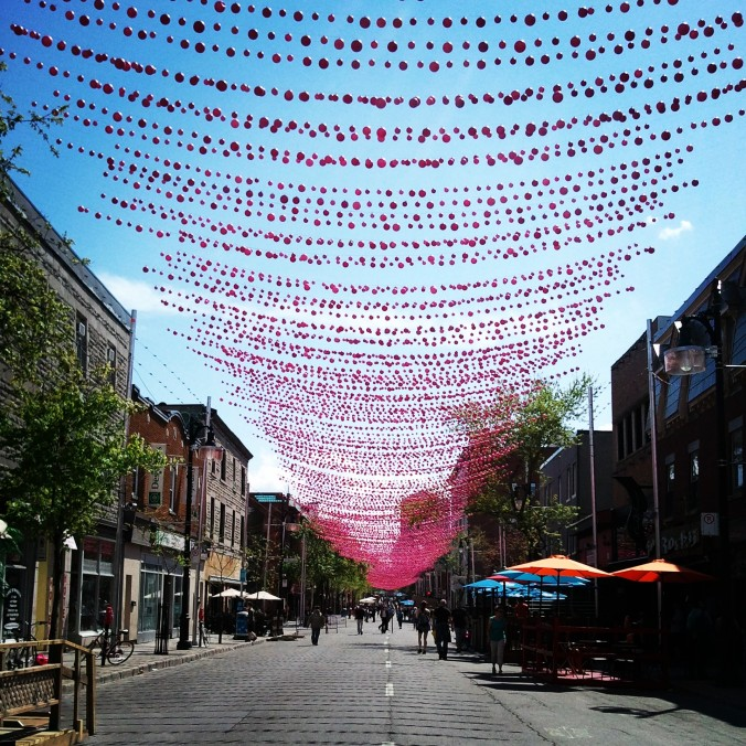 Ste-Catherine Street, spring, pink balls, Village, view, photography, TS76