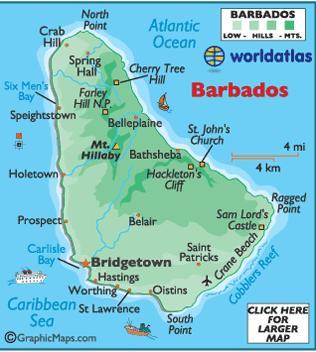 map, Barbados Map, Barbados, travel, reference