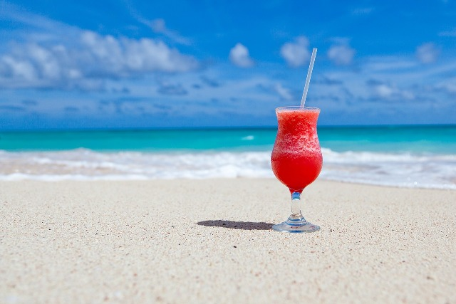 Barbados, colorful cocktail on sand, drink, cold drink