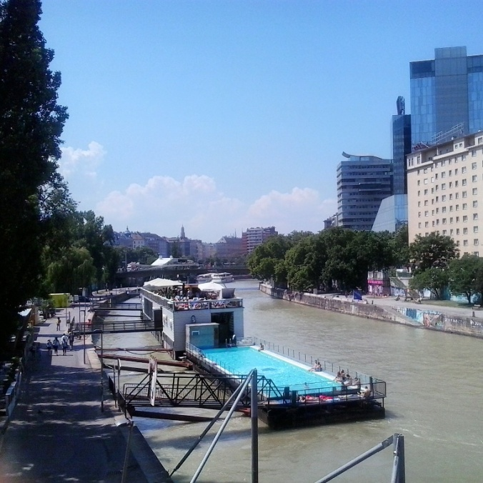 Danube Canal, Vienna, Austria, bar, outdoor swimming pool, bar, city view, Wien, Osterreich