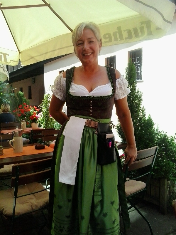 Nuremberg, Germany, Nürnberg, Deutschland, Heilig Geist Spital Restaurant, server dressed in dirndl, travel, TS76