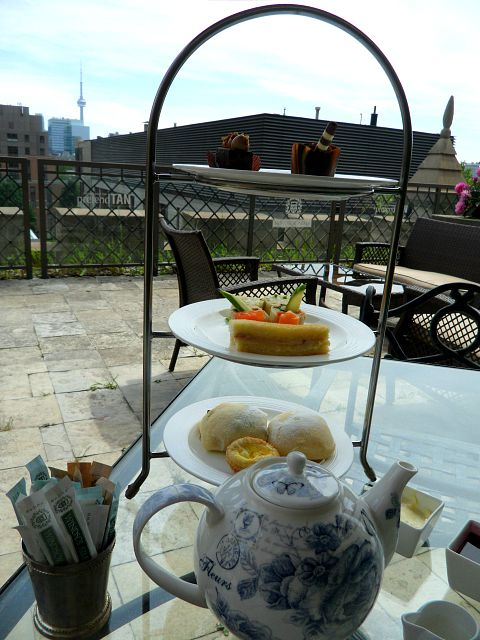 Toronto, Ontario, Windsor Arms, hotel, spa, afternoon tea, terrace, view, skyline, stand, tea pot, photography, TS76