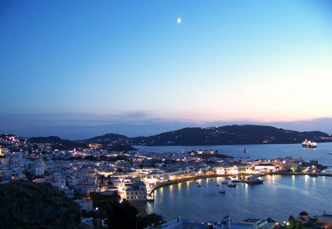 view, sea, island, Mykonos, Greece, Hellas, Sunset, travel, photography