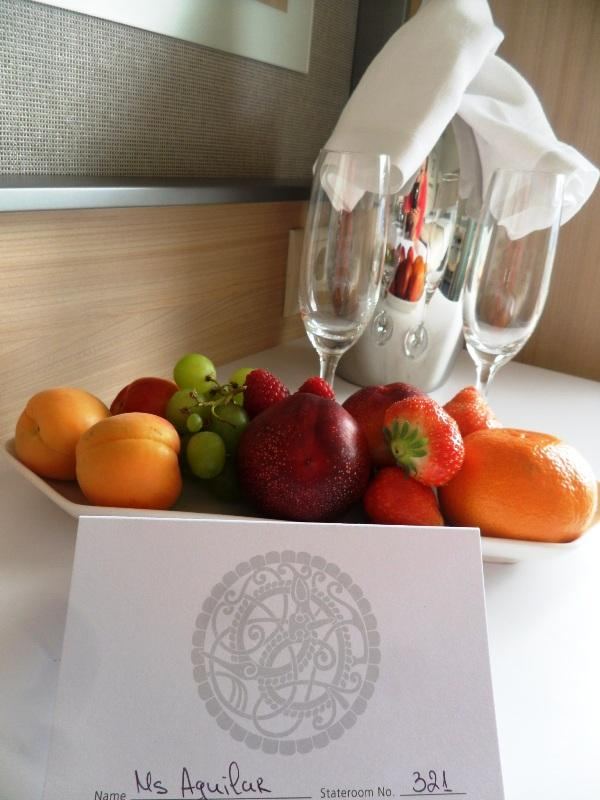 Viking Cruises, Viking Atla-Stateroom, stateroom 321, welcome card, fruits, sparkling wine, travel, river cruise