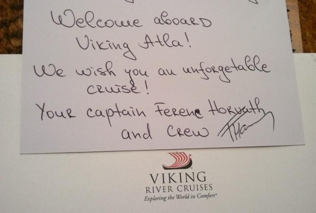 Viking Cruises, Viking Atla, welcome card