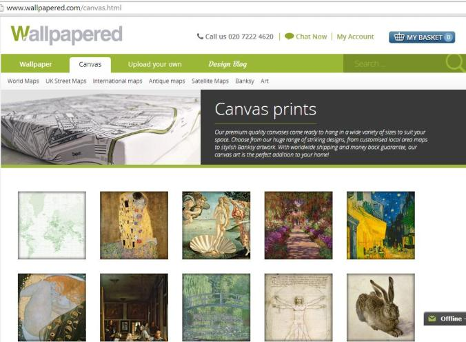 Wallpapered.com, canvas page
