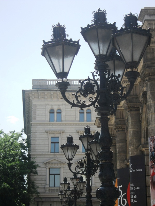 street lamps, Hungarian State Opera House, Opera House, Budapest, Hungary, photography, architecture, TS76