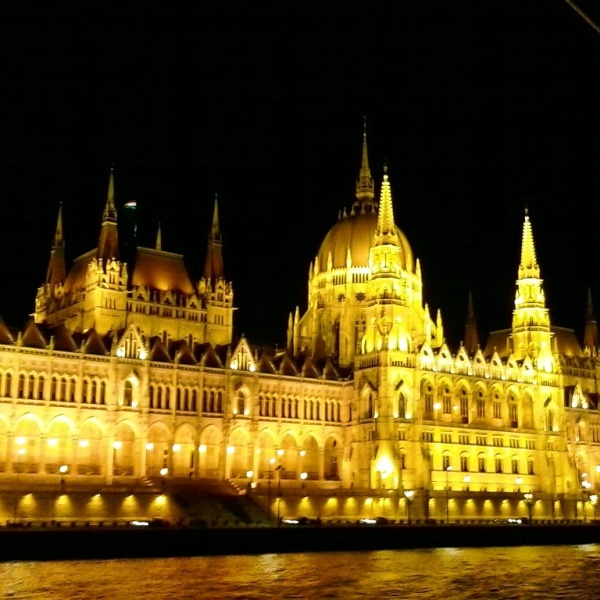 Viking River Cruises, night tour, Hungarian Parliament, Budapest, Hungary, TS76