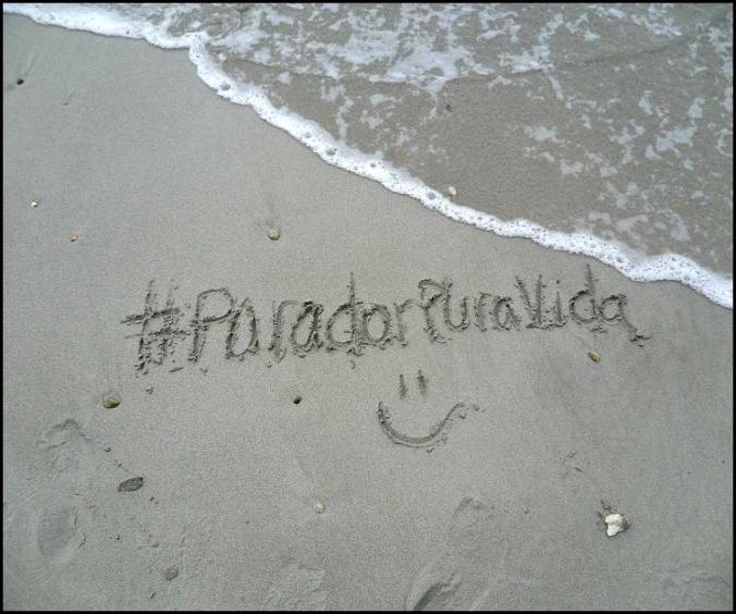 Writing on sand, Parador Pura Vida, Playa Biesanz, Quepos, Costa Rica, TS76