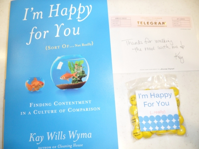 Kay Wills Wyma, author, book, I'm happy for you...sort of...not really, handwritten thank you