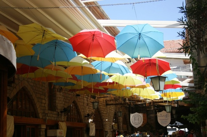 umbrellas, shopping center, market, Cyprus, travel, photography