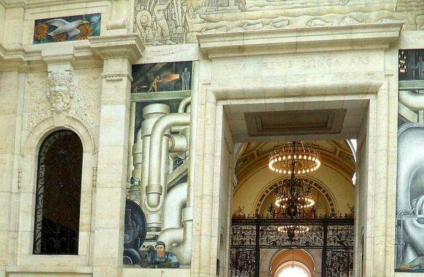 West Wall, Diego Rivera, Detroit Institute of Arts, DIA, Detroit Industry Murals, frescoes, art, Rivera Court, Detroit, Michigan, USA, TS76