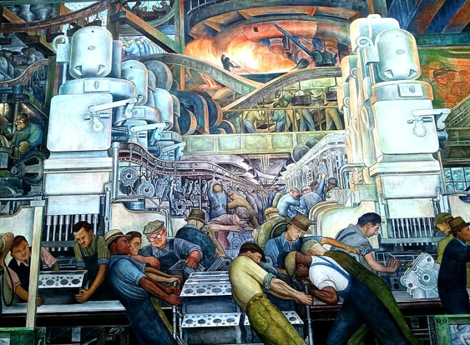 North Wall, Diego Rivera, Detroit Institute of Arts, DIA, Detroit Industry Murals, frescoes, art, Rivera Court, Detroit, Michigan, USA, TS76