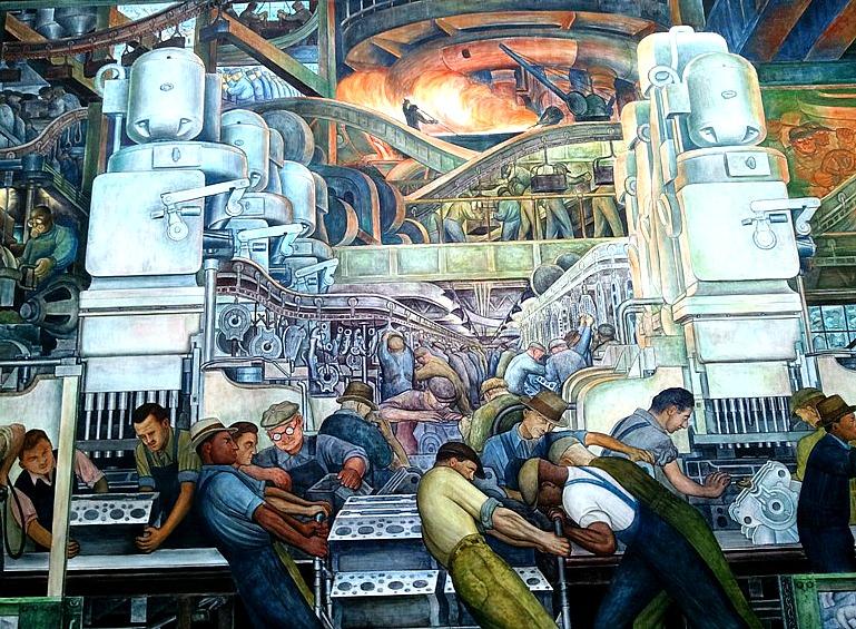 North Wall, Diego Rivera, Detroit Institute of Arts, DIA, Detroit Industry Murals, frescoes, art, Rivera Court, Detroit, Michigan, USA, TS76