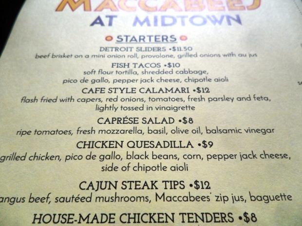 Maccabees, Midtown, Detroit, Michigan, menu