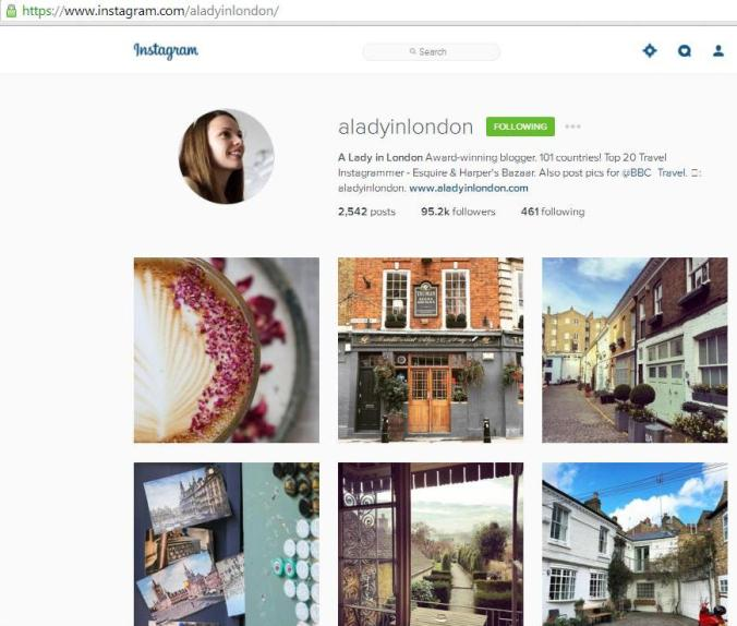 Instagram, travel instagram accounts, A Lady in London, travel, photography, blogger