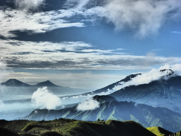 mountains, volcano, clouds, nature, Indonesia, travel, photography