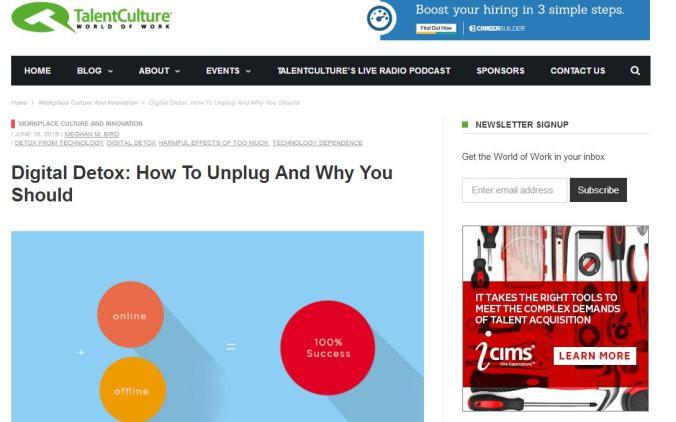Talent Culture, digital detox, blog, blog post
