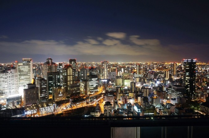 City skyline at night, Osaka, Japan, travel, photography