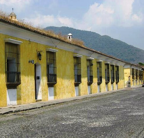 Cobble-stone street, yellow building in Antigua Guatemala, Central America, Travel, Photography, TS76