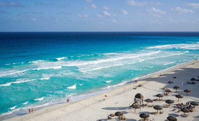 Cancun, Mexico is bordered by the turquoise waters of the Caribbean Sea