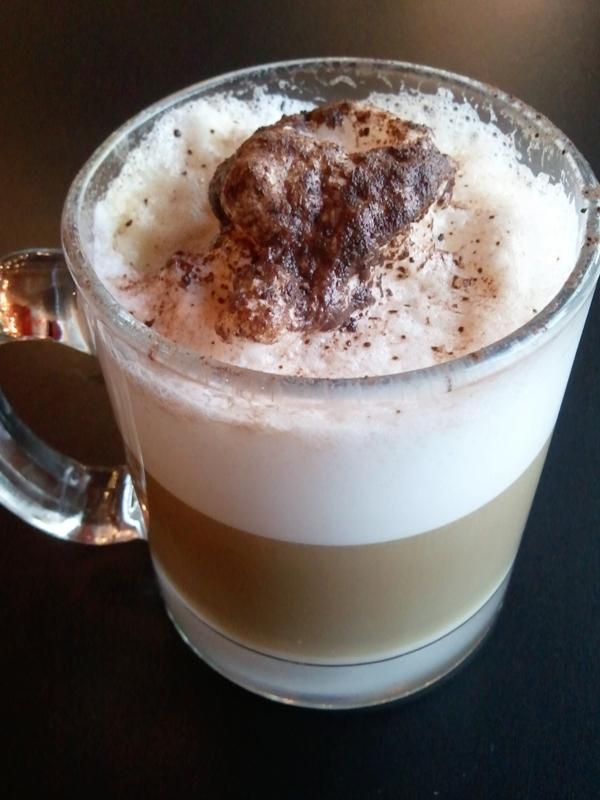 Cappuccino in a clear mug