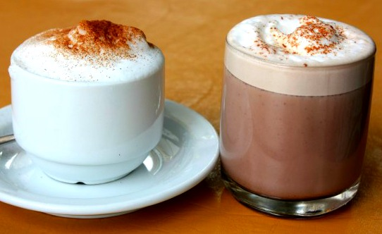 Cappuccino and hot chocolate
