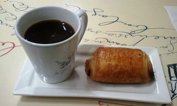 House blend coffee and pain au chocolat