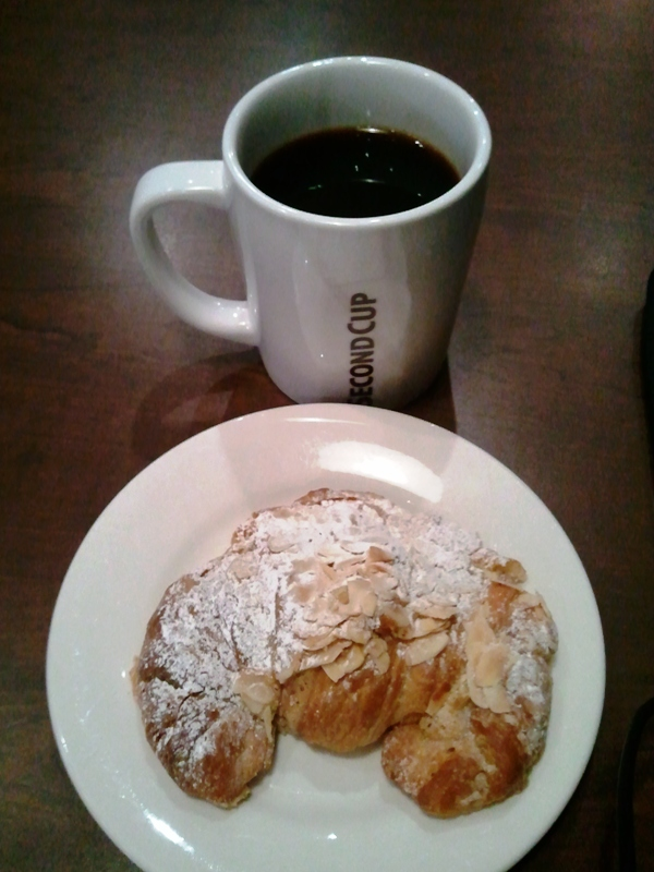 Second Cup Café Paradiso and almond croissant