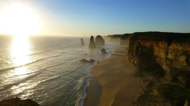12 Apostles rock formations along Ocean Road in Victoria, Australia.
