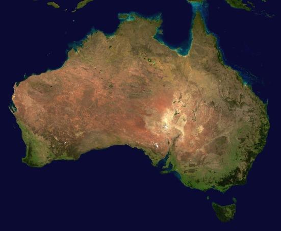 Satellite map of Australia.