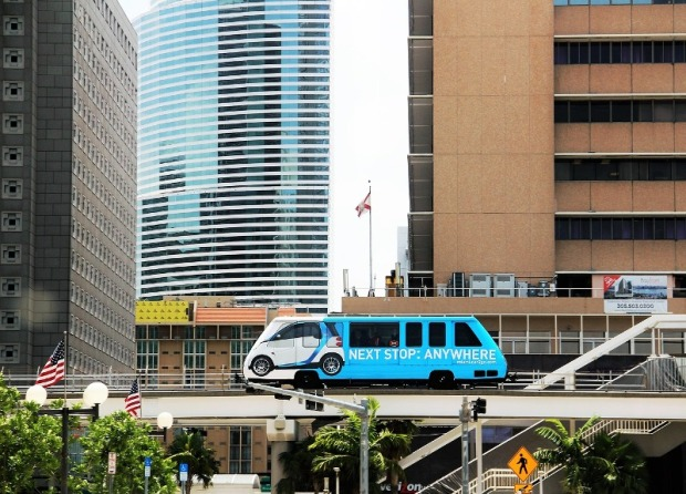 Take the Metro Mover to get an bird's eye view of downtown Miami, Florida.