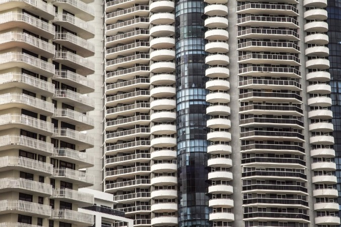 Brickell Avenue is lined up with modern and sky high condominiums in Miami, Florida.