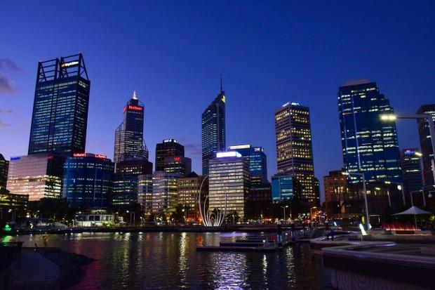 Skyline of Perth in Western Australia.
