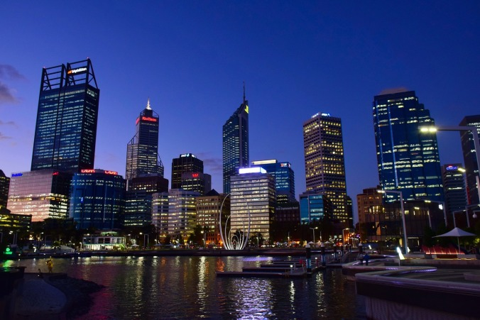 Skyline of Perth in Western Australia.