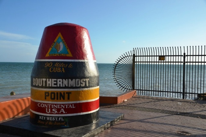 Mark of the Southermost Point in the USA in Key West, Florida.