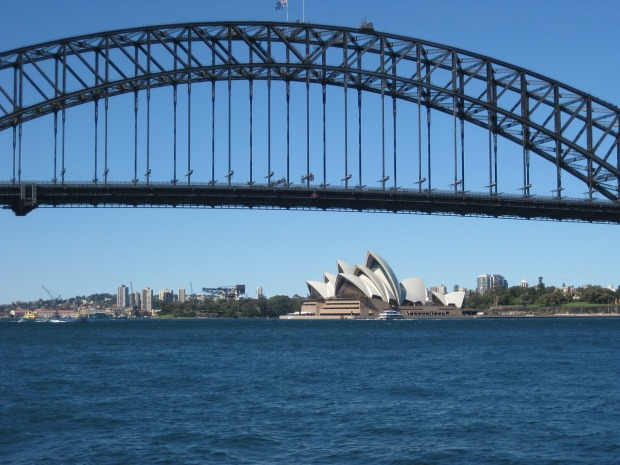Sydney Harbor Bridge and the Opera House, two icons of the the city of Sydney, Australia