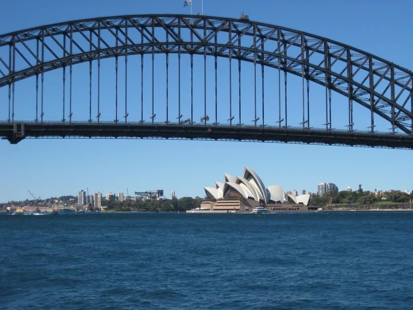 Sydney Harbor Bridge and the Opera House, two icons of the the city of Sydney, Australia