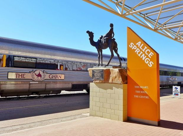 The Ghan departing from Alice Springs, Northern Territory, Australia