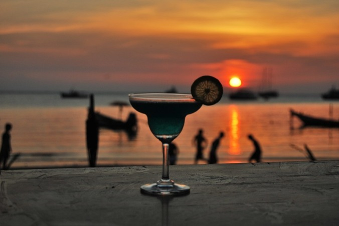 Enjoy a frozen cocktail at sunset in Ibiza.