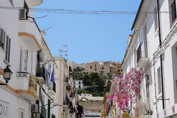 View of traditional houses in Ibiza.