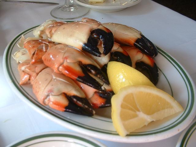Love seafood? Then you must order Florida stone crab which is finger-licking good.